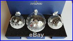 Swarovski 2015 A. E. Christmas Ball Ornament Set. 1x Large 2 x Small Ball Ornament