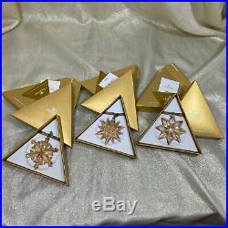 Swarovski Austria Crystal SCS GOLD CHRISTMAS ORNAMENT STAR 2011 2012 2013 set