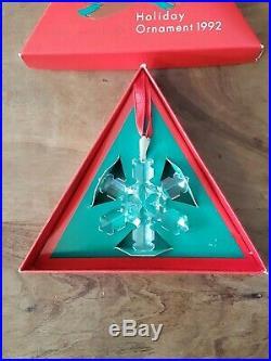 Swarovski Austrian Crystal Snowflake Annual Holiday Ornament 1992 Christmas