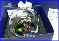 Swarovski Ball Ornament Christmas Tree Teddy Bear White Ribbon Crystal 5533942