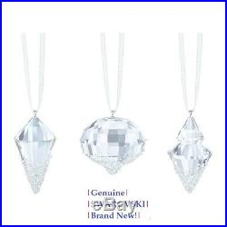 Swarovski Christmas Ornaments Set of Three Pendant Clear 5223618 New in Gift Box