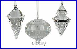 Swarovski Christmas Ornaments Set of Three Pendant Clear 5223618 New in Gift Box