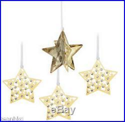 Swarovski Christmas Set Star, Ornament Crystal Golden Shadow MIB 1143399