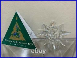 Swarovski Crystal 1991 Christmas Ornament Annual Edition Snowflake star Chipped