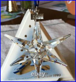 Swarovski Crystal 1993 Holiday Star Snowflake Christmas Ornament Original Box