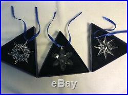 Swarovski Crystal 2007 2008 2009 Annual Star Snowflake Christmas Ornament Bundle