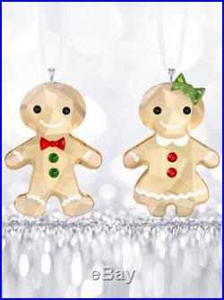 Swarovski Crystal 2018 Gingerbread Couple Christmas Ornament Set 5281766 NEW