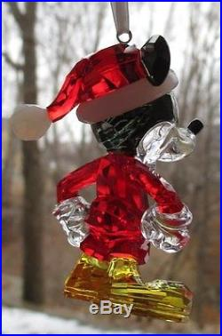 Swarovski Crystal Christmas Mickey Mouse Ornament New and Mint in Box