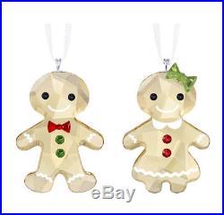 Swarovski Crystal Christmas Ornaments Set of 2 GINGERBREAD COUPLE -5281766 New