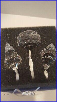 Swarovski Crystal Christmas Ornaments Set of 3 5223618 NIB