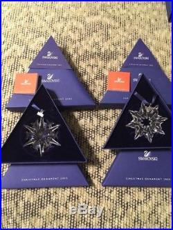 Swarovski Crystal Lot Pair Of 2002 2003 Christmas Ornaments 288802 622498 Boxes