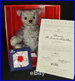 Swarovski Crystal Poinsettia Christmas Ornament Steiff Teddy Bear 2007 LE