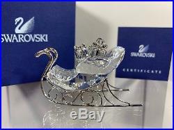 Swarovski Crystal Rhodium Sleigh Christmas Ornament 718995 MIB WithCOA