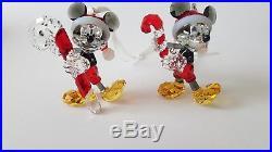 Swarovski Crystal Set of two 2016 an 2018 Mickey Mouse Christmas Ornament, Rare