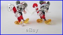 Swarovski Crystal Set of two 2016 en 2018 Mickey Mouse Christmas Ornament, Rare