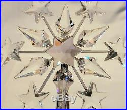 Swarovski Crystal Star Christmas Tree Topper Silver Rhodium Snowflake NEW MINT