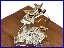 Swarovski Crystals Gold Tone Accent Santa's Reindeer Vintage Christmas Ornament