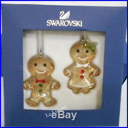 Swarovski Gingerbread Couple Ornament Set, Christmas Crystal authentic 5281766