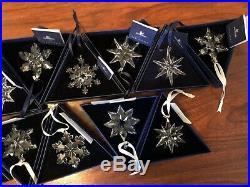 Swarovski Set 2001-2017 Crystal Snowflake Annual Christmas Ornaments-Lot of 17
