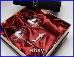 Swarovski Shark Ornament with Two Shark Wine Glasses! Rhodium Montana