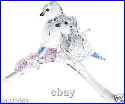 Swarovski Silver Crystal Blue Tits Birds Couple 5004727 Mint In Box