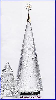 TALL NEW in BOX STEUBEN glass BUBBLE TREE 18K GOLD diamond STAR ornament Xmas