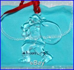 Tiffany & Co 2001 Santa with Sack Bag Crystal Christmas Ornament Pouch Ribbon Box