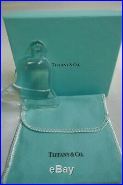 Tiffany & Co. Clear Crystal Bell Boxed Christmas Ornament Signed