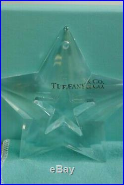 Tiffany & Co. Clear Crystal Open-Work Star Boxed Christmas Ornament Signed
