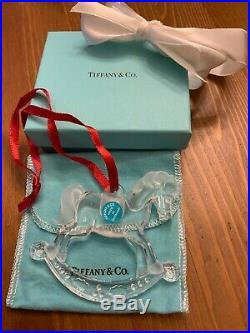 Tiffany & Co. Clear Crystal Rocking Horse Boxed Christmas Ornament