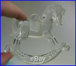 Tiffany & Co. Clear Crystal Rocking Horse Boxed Christmas Ornament Signed