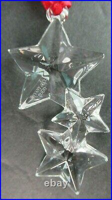 Tiffany & Co. Crystal Christmas Ornament 3 Stars 2000 In Orig Box & Pouch