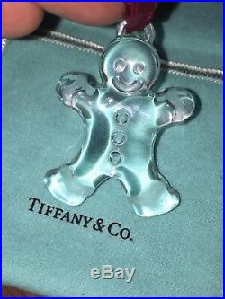 Tiffany & Co. Crystal Christmas Ornament GINGERBREAD MAN withPouch