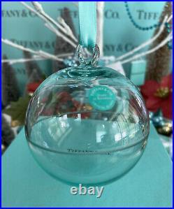 Tiffany&Co Crystal Glass Ball Ornament Christmas Tree Holiday 2018 W Box