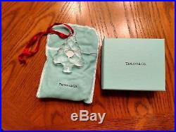 Tiffany & Co. Crystal Holiday Christmas Tree Ornament with sticker. Mint in box