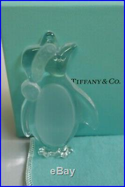 Tiffany & Co. Crystal Penguin Boxed Christmas Ornament Signed