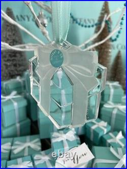 Tiffany&Co Crystal Present Frosted Bow Ornament Christmas Holiday W Box 1993