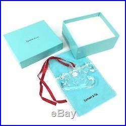 Tiffany & Co. Crystal Sleigh Christmas Ornament In Original Box & Pouch 1997