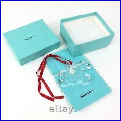 Tiffany & Co. Crystal Sleigh Christmas Ornament In Original Box & Pouch 1997