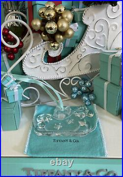 Tiffany&Co Crystal Sleigh Frosted Bow Ornament Christmas Holiday Star Pouch 1997