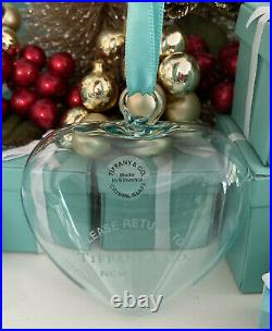 Tiffany&Co RTT Puffy Heart Ornament Blue Crystal Glass Christmas Tree Holiday