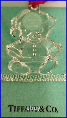 Tiffany & Co. Rare Crystal Teddy Bear Christmas Tree Ornament with Box & Pouch