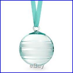 Tiffany & Co Ribbon Stripe Ball Christmas Ornament Tiffany Blue Crystal Glass