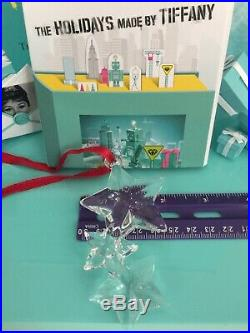 Tiffany Co Star Ornament Crystal Three Star Christmas Holiday 2000 Pouch Box