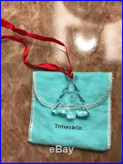 Tiffany and Co Crystal CHRISTMAS TREE ornament with dust cover etched authentic