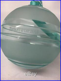 Tiffany and Co Striped Glass Ball Christmas 2018 Ornament Holiday