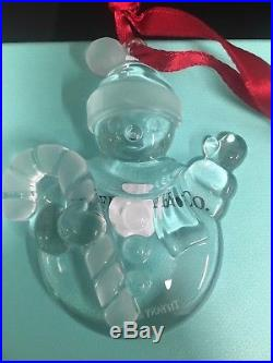Tiffany & co Christmas snowmen crystal ornament 3l x 2.5w