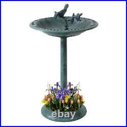 Traditional Ornamental Garden Pedestal Planter & Bird Bath Bowl Sparrow statue