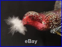 Vintage 5 Christmas Clip On Bird Ornaments 4 Mercury Glass Plus Cloth Blue Jay