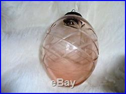 Vintage Antique Large! Chunky Crystal Cut Glass Christmas Hanging Bauble